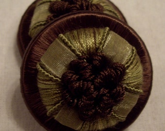 """One Pair Moss & Chocolate """"GANACHE"""" French Passementerie Rosette Trim - 3 Pairs Available - Free Shipping"""