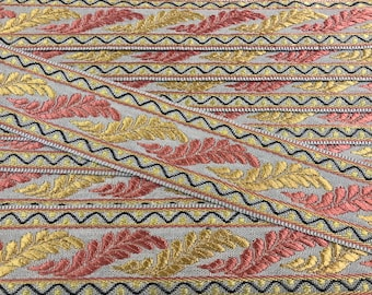 """French Gold & Salmon on Dove """"ACANTHUS"""" Passementerie Galon Flat Braid Trim - Imported from Lyon, France - 5 yds - 40 YARDS AVAILABLE"""