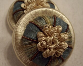 """One Pair Peacock & Champagne """"GANACHE"""" French Passementerie Rosette Trim - 3 Pairs Available - Free Shipping"""