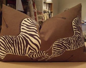 "One Large Scalamandre Safari Brown ""ZEBRAS"" Printed Linen Custom Down Bolster Pillow - 15"" by 23"" - Right Facing"