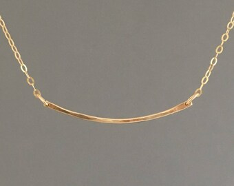 THIN Hammered Curved Gold Fill Bar Necklace also in Sterling Silver and Rose Gold