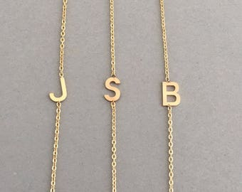 Sideways Initial Gold Necklace also in Sterling Silver and Rose Gold Fill