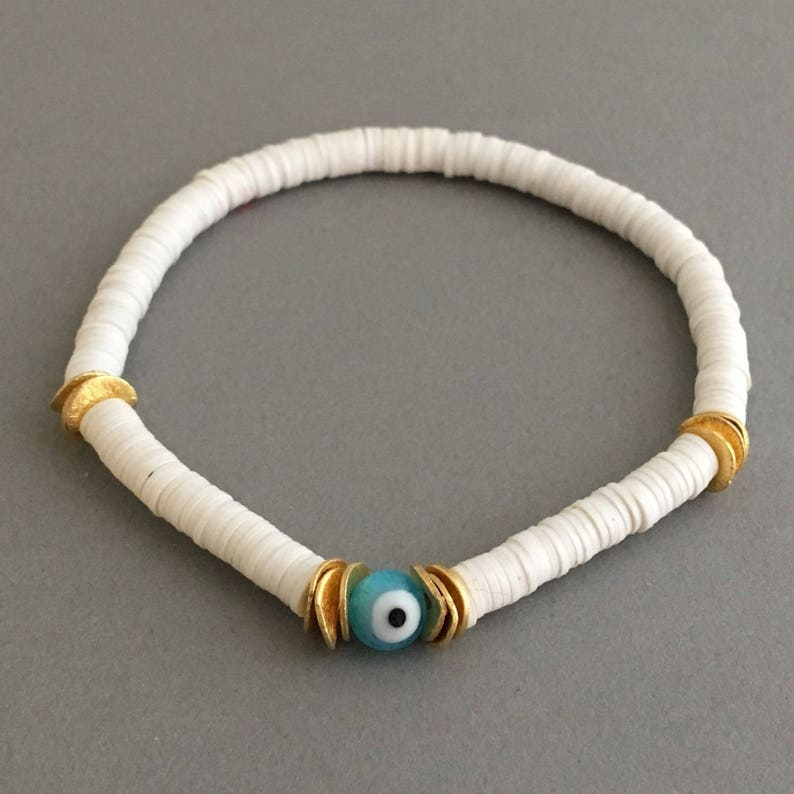 Evil Eye and Gold Disc White Vinyl Beaded Bracelet Also image 0