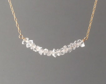 Herkimer Diamond Beaded Necklace available in gold, rose gold, or silver