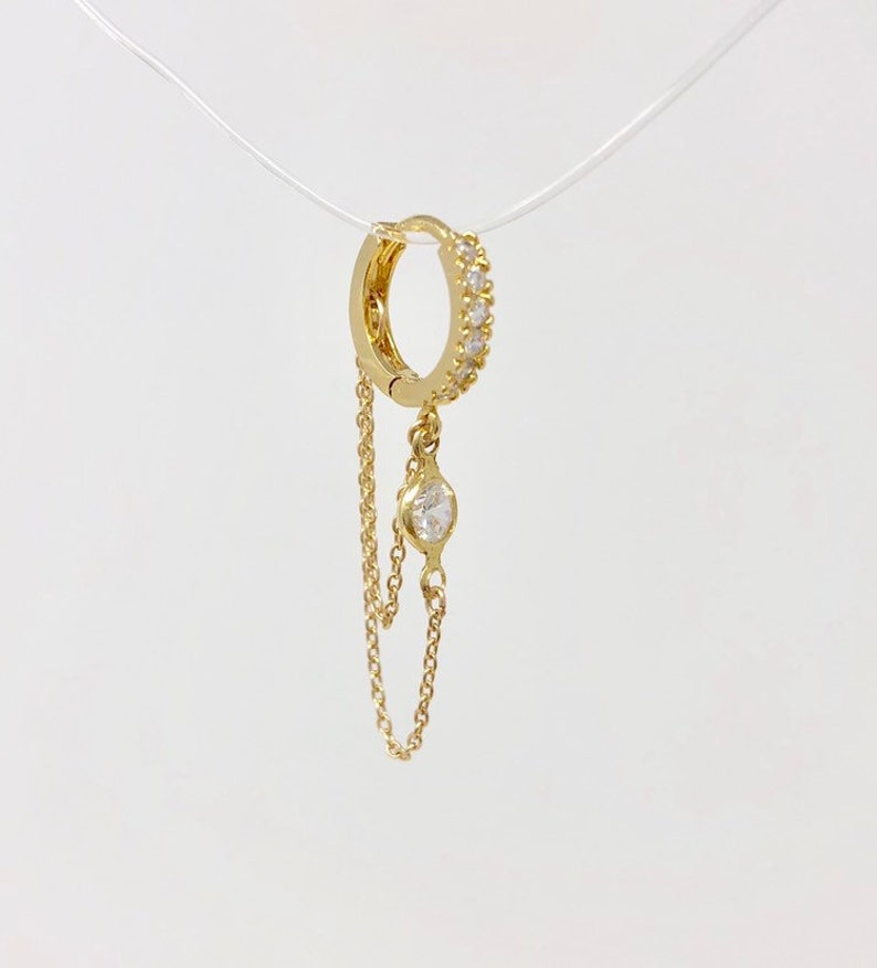 6fb432374 Swarovski Crystal Double Chain Hoop Huggie Earrings also in | Etsy