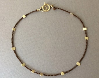 Gold Bead BROWN Silk String Bracelet also in Sterling Silver and Rose Gold Fill