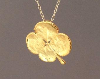Real Gold Four Leaf Clover Necklace