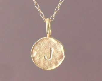 Custom Gold Initial Charm Disc Necklace
