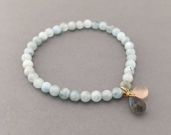 Aquamarine Beaded Bracelet with Labradorite and Rose Quartz in Gold, Rose Gold, or Sterling Silver