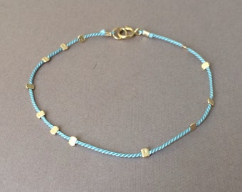 Gold Bead LIGHT BLUE Silk String Bracelet also in Sterling Silver and Rose Gold Fill