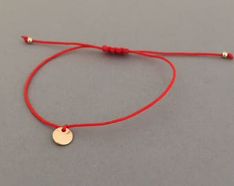 Adjustable Gold Fill Disc Macrame Bracelet Available in Gold, Rose Gold, and Silver