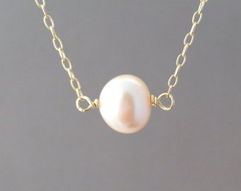 Pink Freshwater Pearl Necklace in both gold fill, rose gold, and sterling silver