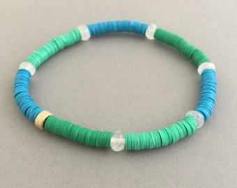 Moonstone Studded Green and Blue Vinyl Beaded Bracelet Available in Gold or Sterling Silver