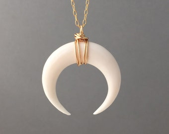 LARGE White Bone Double Horn Gold Necklace // Crescent Moon