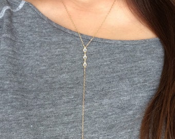 THREE Crystal Gold Y Lariat Drop Necklace also in Silver and Rose Gold