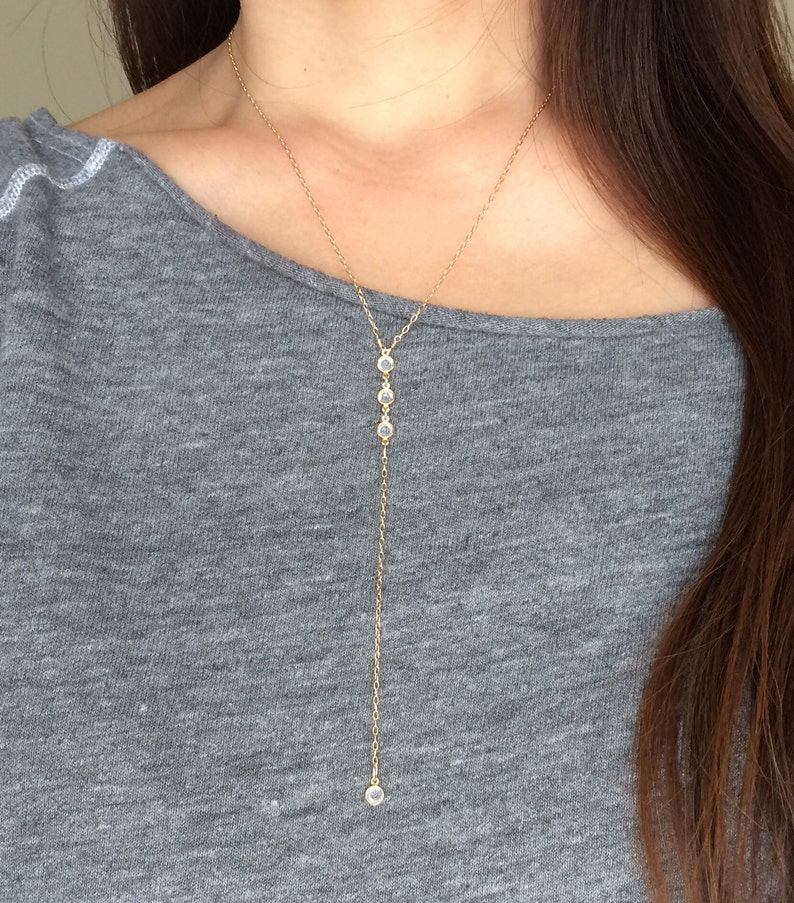 THREE Crystal Gold Y Lariat Drop Necklace also in Silver and image 0