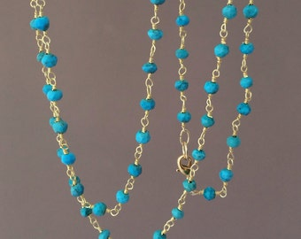 Long or Short Turquoise Stone Gold Beaded Necklace