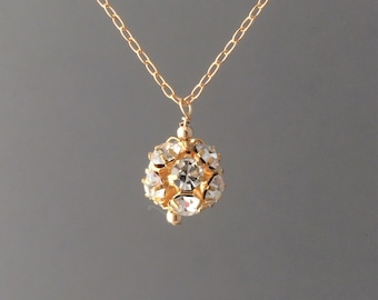 Long Gold Crystal Ball Necklace also in Silver