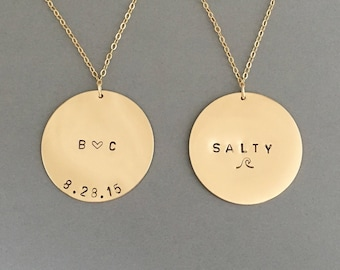LARGE Coin Personalized Gold Fill Disc Necklace also in Rose Gold and Silver