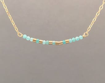 CUSTOM TEAL AMAZONITE Gold Fill Morse Code Necklace also in Sterling Silver and Rose Gold Fill