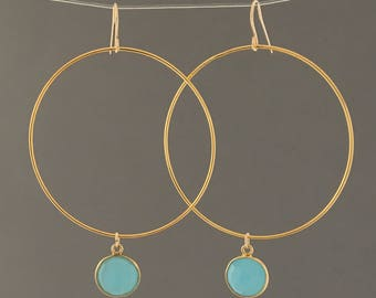 Large Gold Hoop Earrings with Chalcedony Stone