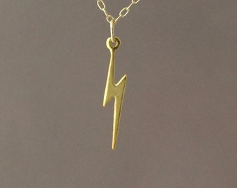 Tiny Gold Lightning Bolt Necklace also in Silver
