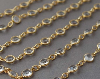 Long Clear Gold Swarovski Crystal Necklace also in Silver and Rose Gold
