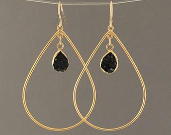 Black Druzy Gold Teardrop Earrings