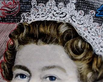 QE2  the queen BLACK& WHITE photograph hand colored/ 'graffiti'