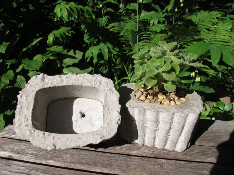 small garden patio container Mighty; Concrete Planter with accordion texture Small
