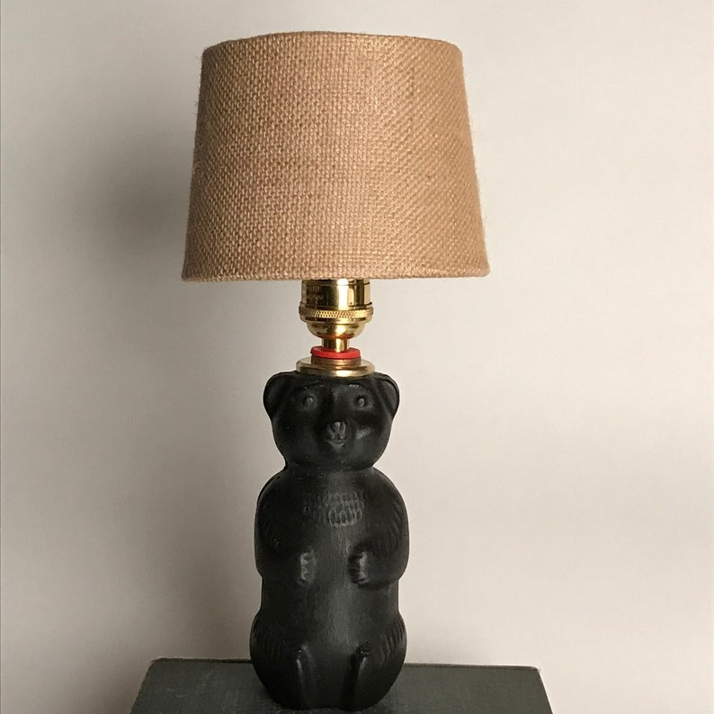 Midnight Black Bear concrete honey bear lamp painted blackwaxed concrete fancy sunlite brass socket shade included choose tawny or white