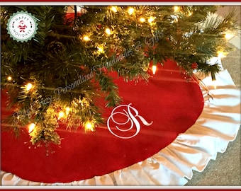 Personalized Red Christmas Tree Skirt - Christmas Decor - Gift for couples