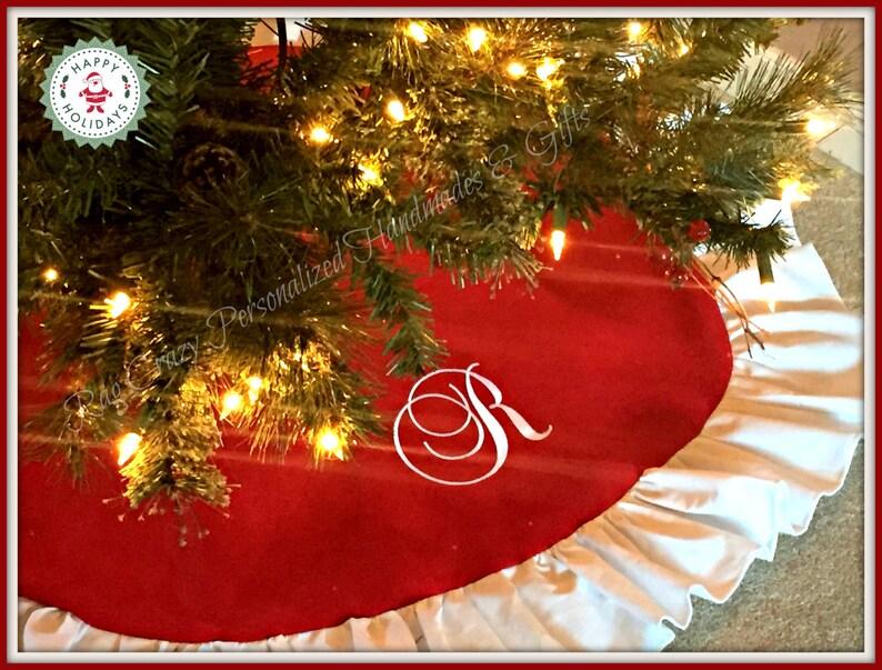 Handmade Tree Skirt Christmas in July Traditional Tree Skirt Personalized Christmas Tree Skirt Christmas Tree Skirt Red Tree Skirt