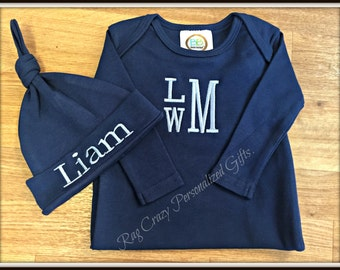 Personalized Baby Boy Gift Set, Baby Boy Infant Gown, Baby Gifts, Baby Boy Gift Set, Monogram Baby Gown, Baby Boy Coming Home Outfit