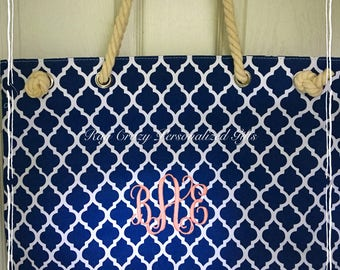Personalized Beach Bag, Monogrammed Beach Bag, Customized Beach Bag Tote, Embroidered Beach Bag, Extra Large Tote Bag, Striped Beach Bag