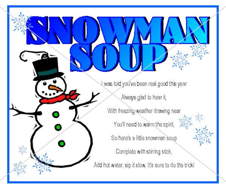 photograph regarding Snowman Soup Printable Tags called Printable Xmas Snowman Soup Tag Label