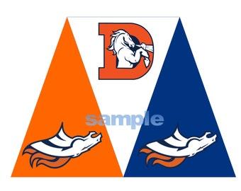 Printable Denver Broncos Football Tag Pennant Banner