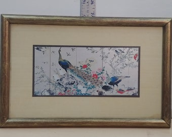 """A Windsor Art Product  Pico Rivera, California """"369 Oriental"""" 8x13 Peacocks and other birds"""