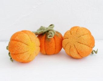 Set of Three miniature pumpkins, Halloween Thanksgiving home decor, rustic decorations