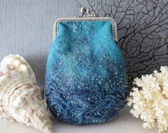 """Purse """"The deep sea"""", Hand felted purse for accessories and cosmetics"""