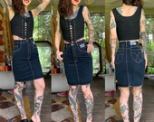 Vintage 1980 s USED Indigo Denim Pencil Skirt High Waist xxs xs 24