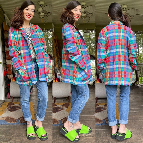 Vintage Rainbow Plaid Lightweight Cotton Jacket Sh