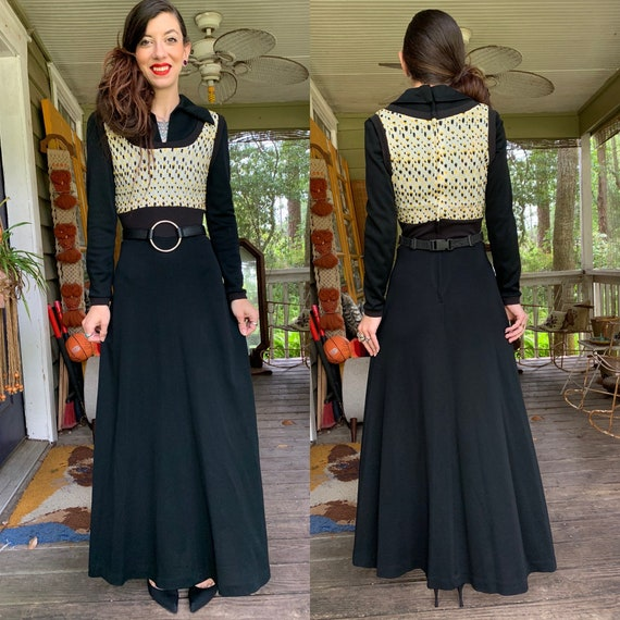 Vintage 1970's Black Maxi Dress Young Innocent Arp