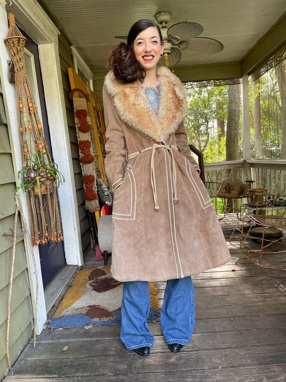 Vintage 1970's Suede Shearling Penny Lane Coat Ja… - image 2
