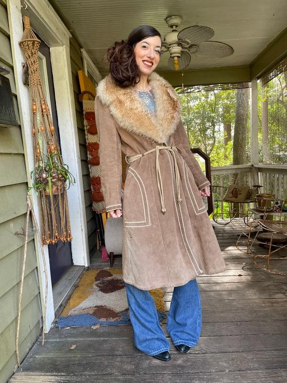 Vintage 1970's Suede Shearling Penny Lane Coat Ja… - image 3