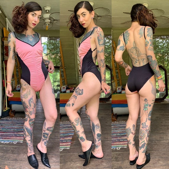 Vintage Salmon and Black One Piece Swimsuit Ruched