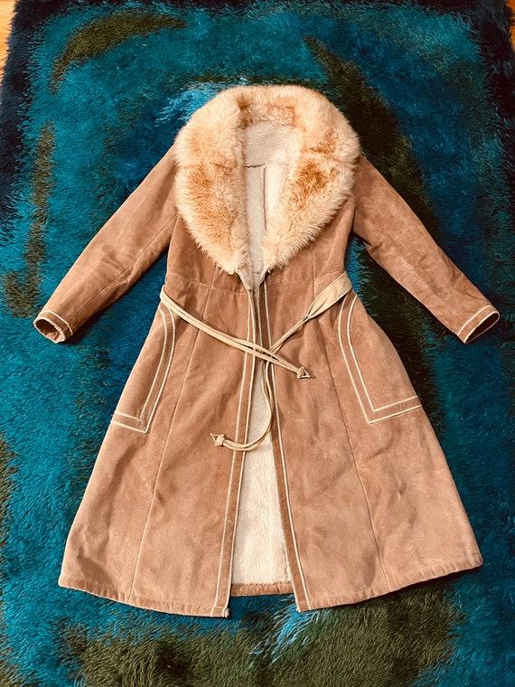 Vintage 1970's Suede Shearling Penny Lane Coat Ja… - image 6