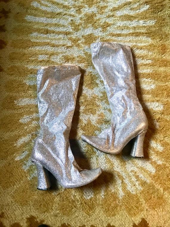 Vintage 1960's Silver Glitter Platform Go Go Boots