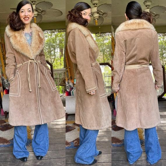 Vintage 1970's Suede Shearling Penny Lane Coat Ja… - image 1