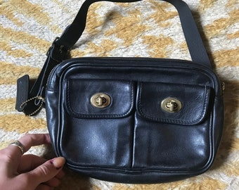 RARE Vintage Black Leather COACH fannypack size xs s